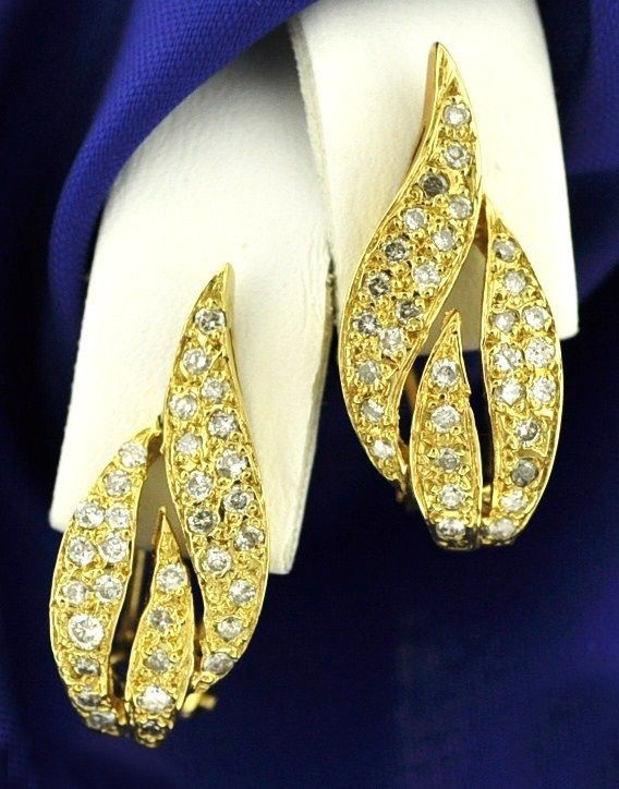 Dangle Earrings 1.20Ct Diamond Weding  Natural Certified Solid Gold