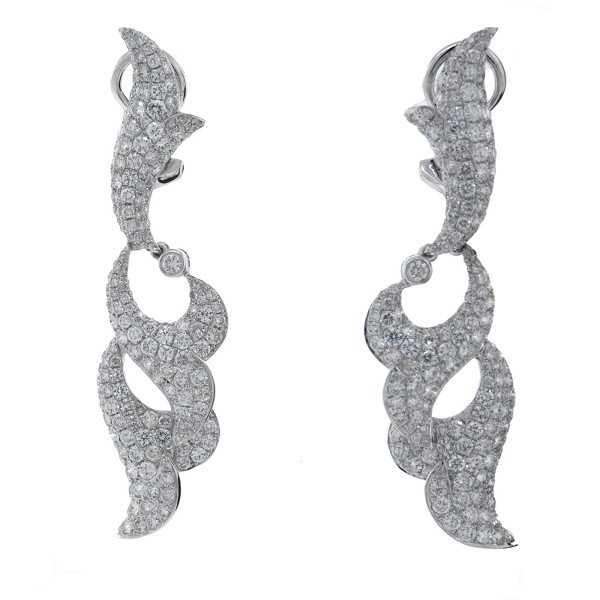 Dangle Earrings 2.50Ct Diamond  Natural Certified Solid White Gold