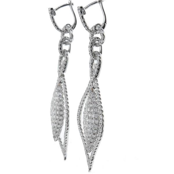 c202ef3158d Diamond Hanging Earrings 3.25Ct Solid Gold Wedding Anniversary