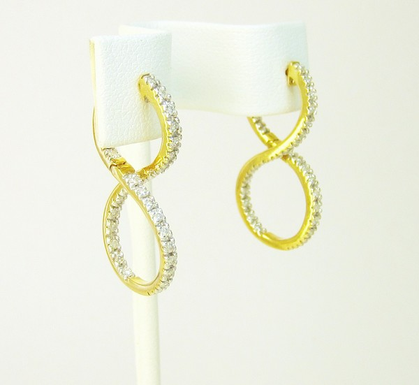 Diamond Hanging Earrings 1.00Ct Diamond  Natural Certified Solid Gold