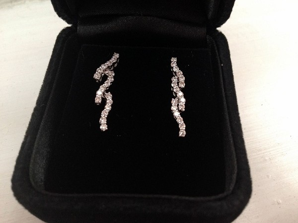 Diamond Dangle Earrings 0.60Ct Natural Certified Solid White Gold