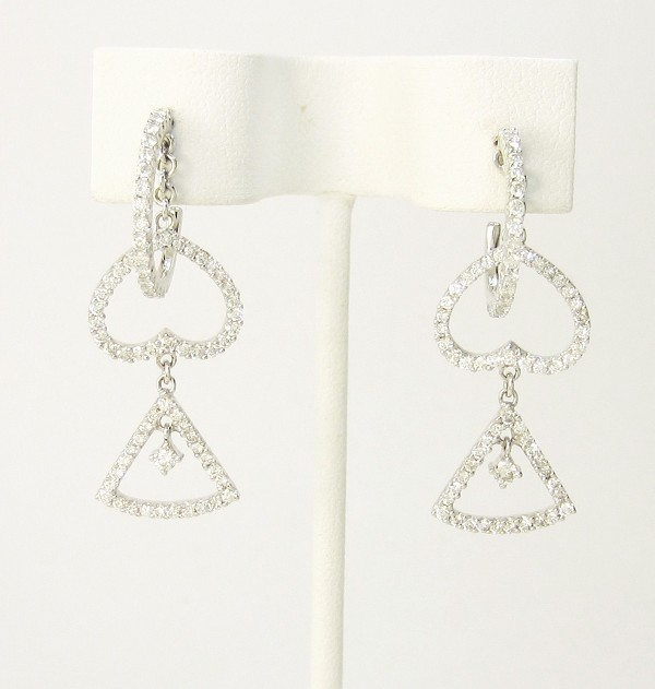 Diamond Drop Earrings 1.50Ct Natural Certified Solid White Gold