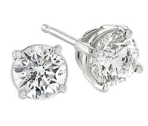 Solitaire Diamond Studs 2.00 Ct Natural Certified Solid Gold Anniversary Earrings