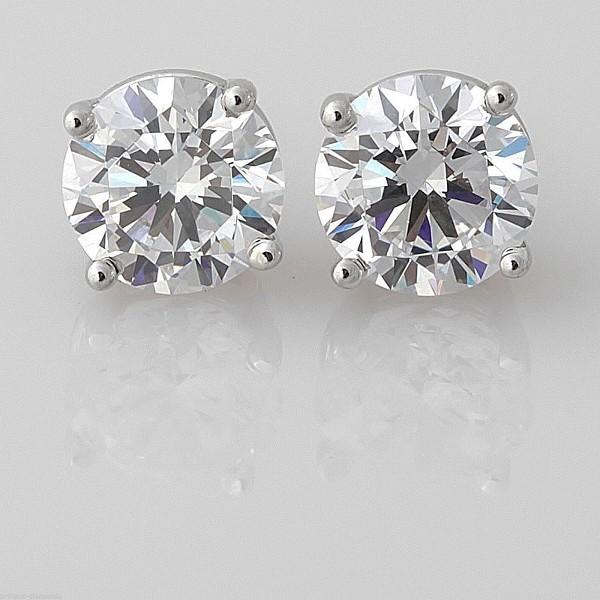 Diamond Solitaire Earrings 2.00 Ct Natural Certified Solid Gold Studs