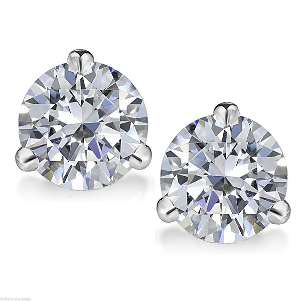 Solitaire Earrings 1.50 Ct Dimaond Studs Natural Certified Solid Gold