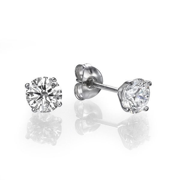Solitaire Earrings 0.25 Ct Diamond Natural Certified Solid Gold Studs