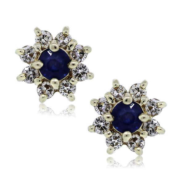 Gemstone Earrings Stud 0.45 Ct Diamond 0.60 Ct Blue Sapphire Natural Certified Solid Gold