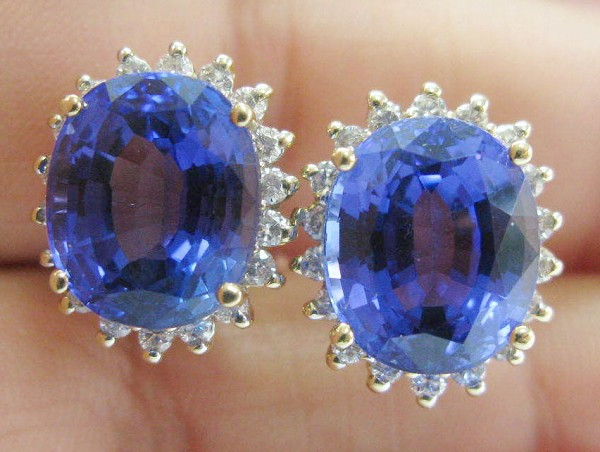 Gemstone Studs Earrings 1.08 Ct Diamond 4.00 Ct Sapphire Natural Certified Solid Gold