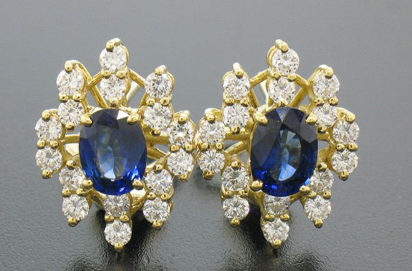 Gemstone Earrings Studs 1.00 Ct Diamond 1.20 Ct Blue Sapphire Natural Certified Solid Gold