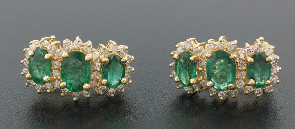 Gemstone Drop Earrings 1.20 Ct Diamond 3.00 Ct Emerald Natural Certified Solid Gold
