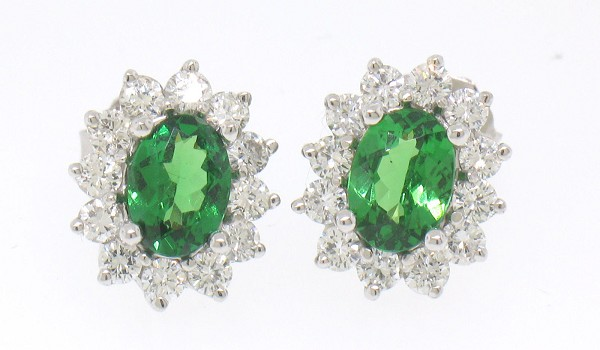 handmade Gemstone Earrings 0.94 Ct Diamond 1.60 Ct Peridot Natural Certified Solid Gold