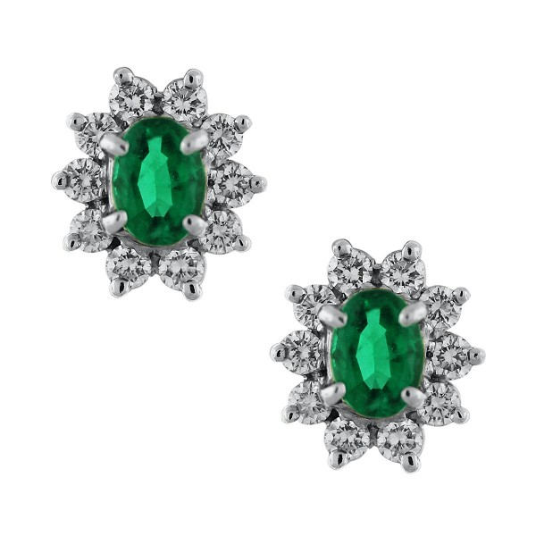 Emerald Earrings 0.55 Ct diamond 0.90 Ct Emerald Natural Certified Solid Gold