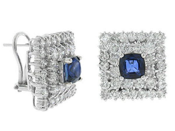 Sapphire Earrings 2.00 Ct Diamond 1.00 Ct Blue Sapphire Natural Certified Solid Gold