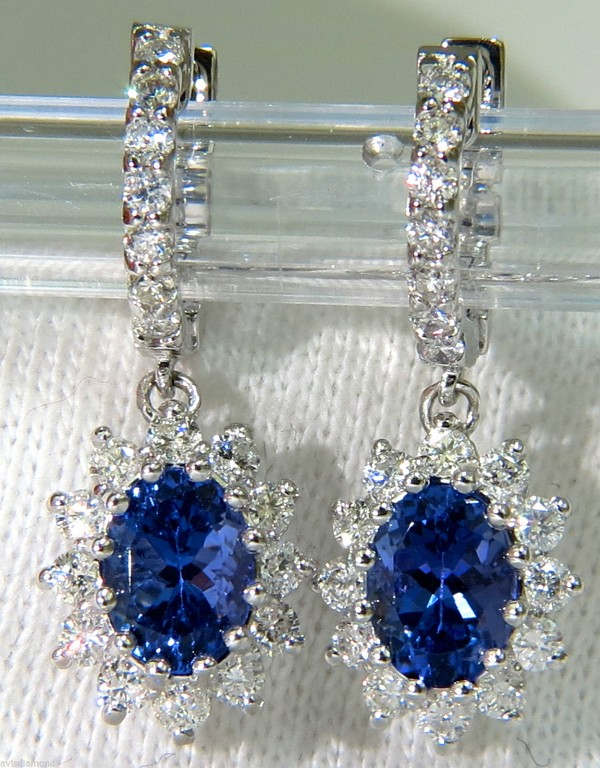 Gemstone Dangle Earrings 1.00 Ct Diamond 2.00 Ct Blue Sapphire Natural Certified Solid Gold