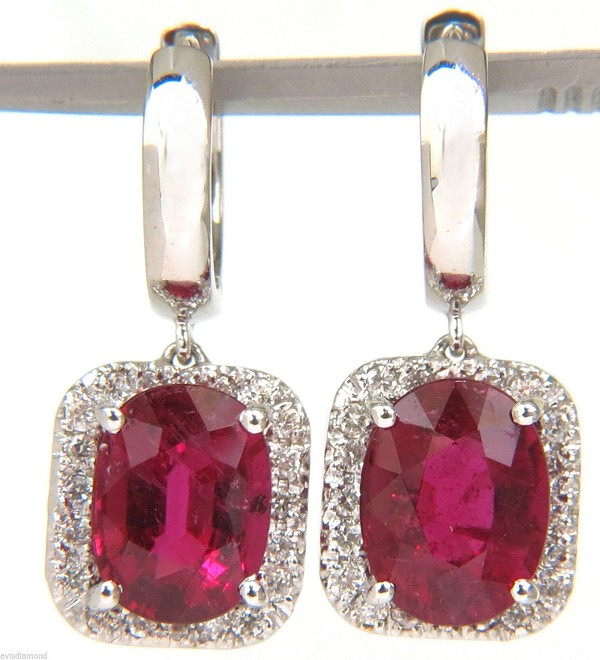 Ruby Earrings 0.65 Ct Diamond 4.00 Ct Gemstone  Natural Certified Solid Gold