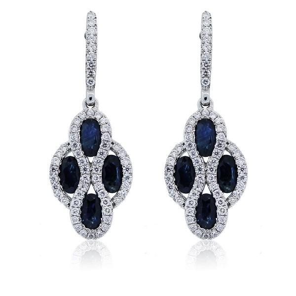 Gemstone Dangle Earrings 1.75 Ct Diamond 2.55 Ct Blue Sapphire Natural Certified Solid Gold