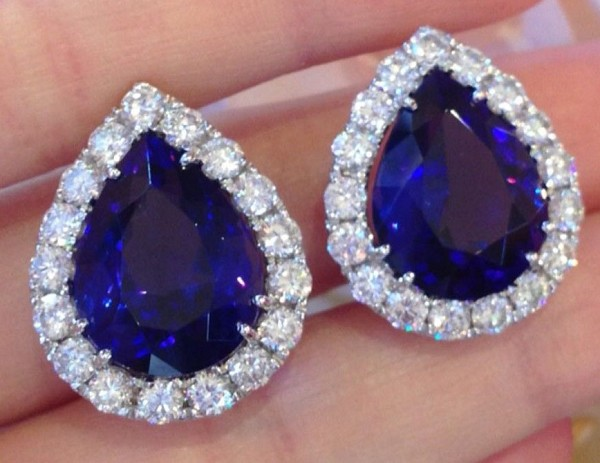 Gemstone Studs Earrings 1.00 Ct Diamond 2.75 Ct Tanzanite Natural Certified Solid Gold