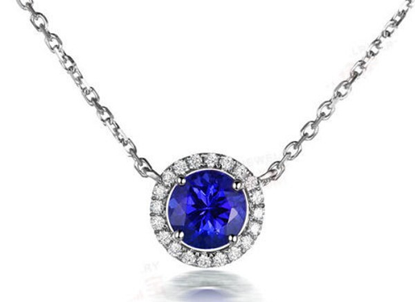 White Gold Diamond Pendant 0.4 Ct Solid Gold Natural Certified