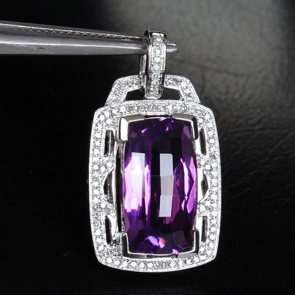 Gemstone Pendant 0.85 Ct Diamond 2.10 Ct Amethyst Solid Gold Natural Certified