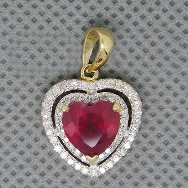 Gemstone Necklace 1.00 Ct Diamond 1.10 Ct Ruby Solid Gold Natural Certified