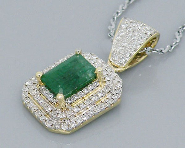 Gemstone Necklace Designs 2.00 Ct Diamond 1.25 Ct Emerd Solid Gold Natural Certified
