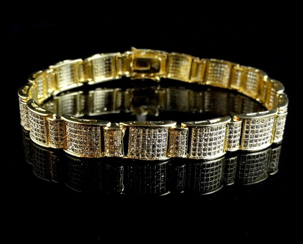 8.55 Ct Natural Diamond Solid Gold Men'S Certified Bracelet