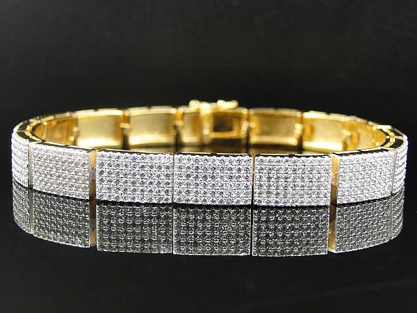8.00 Ct Natural Diamond Solid Gold Men'S Certified Bracelet