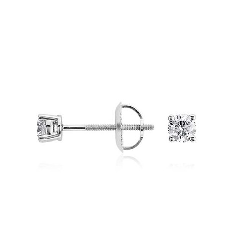 0.15Ct Natural Diamond Solid Gold Men'S Single Stud Certified