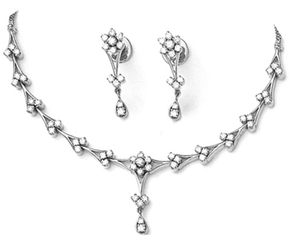 Diamond Necklace Set Design 3.22Ct  White Gold Wedding jewelry Set Natural Certified