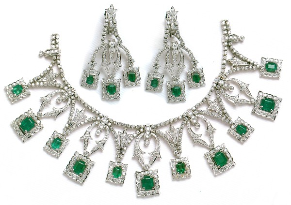Diamond Necklace Set 15.55Ct Emerald White Gold Bridal jewelry Set Natural Certified