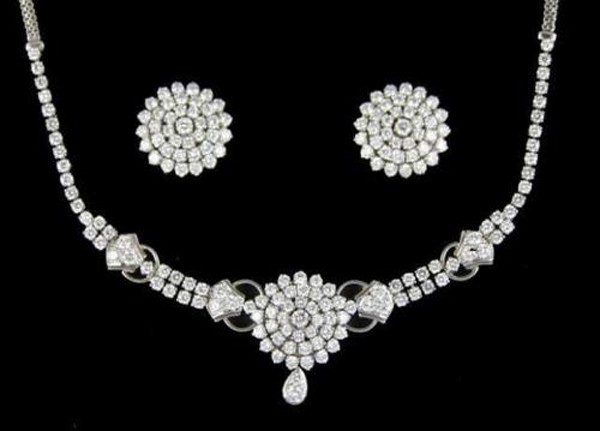 Diamond Necklace Set 6.00Ct Solid Gold Wedding jewelry Set Natural Certified