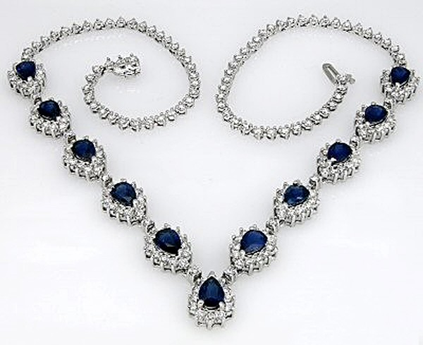 Gemstone Necklace 7.50Ct Diamond Blue Sapphire Solid Gold Wedding Natural Certified