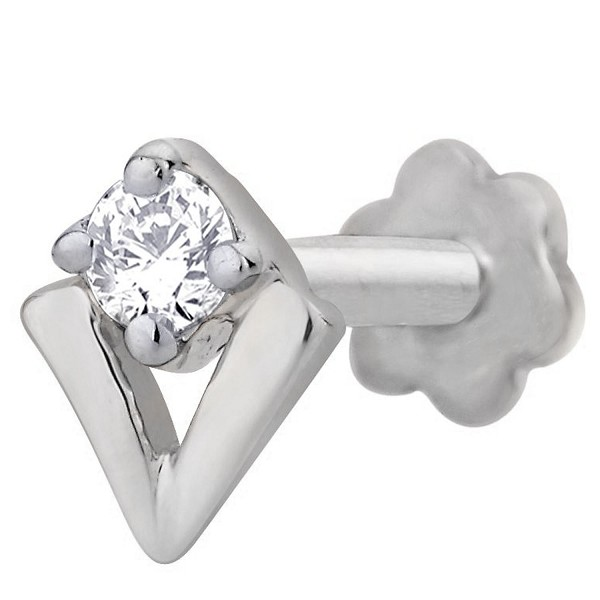 Solitaire Diamond Nose Pin 0.10Ct Round Shape Natural Certified Solid White Gold