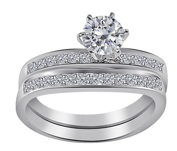Wedding Ring Sets 2.00Ct Solitaire Diamond Gold Engagement Set Natural Certified