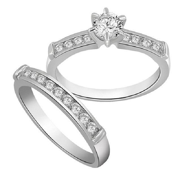 Matching Wedding Ring Sets 1.25 Ct Diamond Gold Solitaire Bridal Sets Natural Certified