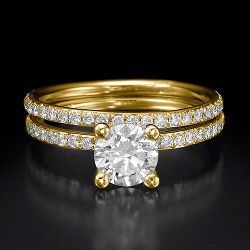 Bridal Ring Sets 2.50Ct Diamond 14K Solid Gold engagement Set Natural Certified