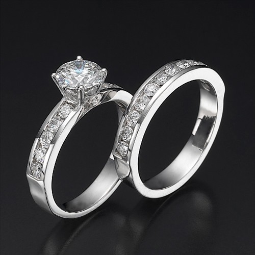 Matching Wedding Ring Sets 2.00Ct Diamond Solid Gold Certified Solitaire Set
