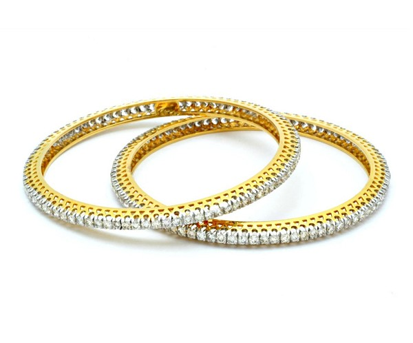 Diamond Eternity Bangle Pair 9.00Ct Solid Gold Natural Certified
