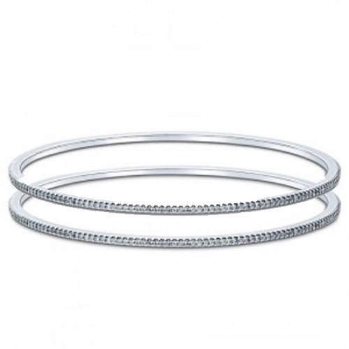 Eternity Bangle Pair 4.00 Ct Diamond Solid White Gold  Natural Certified