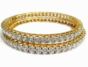 Single line diamond bangle Pair 8.00 Ct Solid Gold Natural Certified