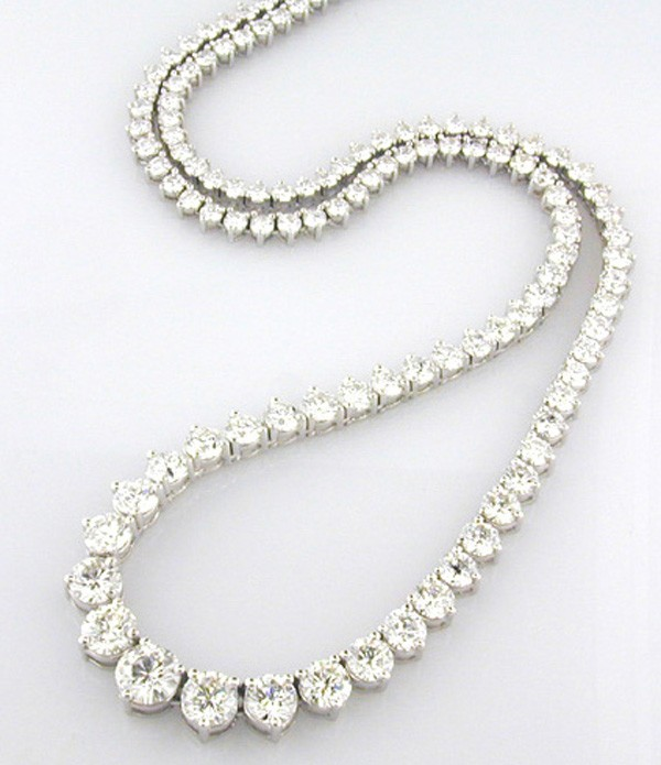 Diamond Eternity Necklace 12.00Ct Solid White Gold Wedding  Natural Certified