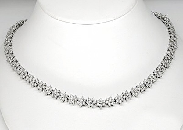 Diamond Tennis Necklace 8.00Ct Diamond Solid White Gold Necklace Natural Certified