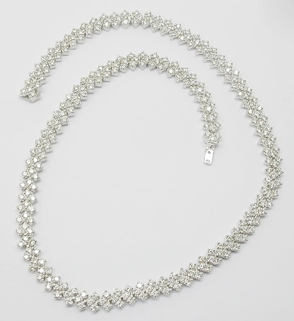Tennis Necklaces Diamond 15.00Ct  Solid White Gold Bridal Jewelry Natural Certified