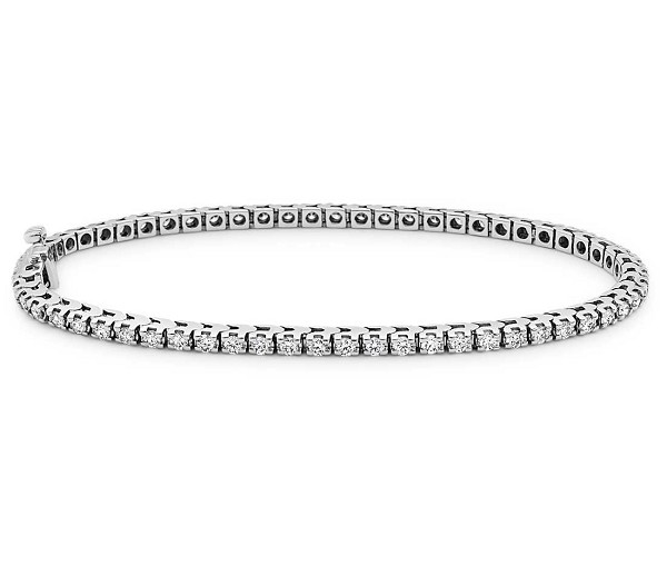 Diamond Tennis Bracelets 3.03 Ct Solid White Gold Natural Certified