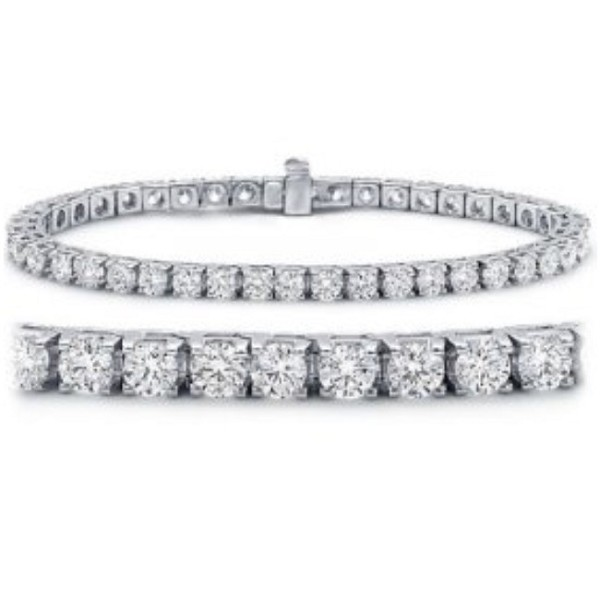 Gold Tennis Bracelets 7.50 Ct Natural Diamond Solid White Gold Natural Certified