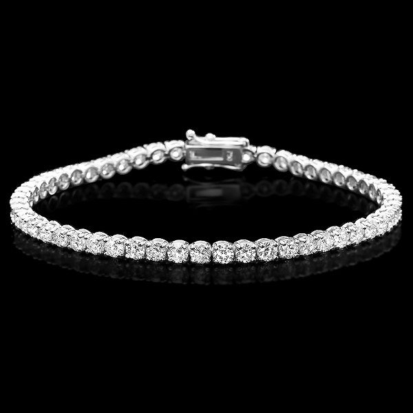 Beautiful Diamond Tennis Bracelet 4.00 Ct Solid White Gold Natural Certified