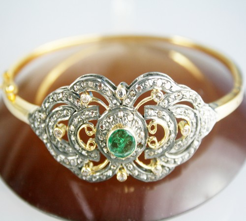Natural Emerald Diamond 2.50 Carat 14K Gold Bracelet
