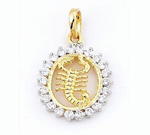 Zodiac Necklace solid Yellow Gold Horoscope Necklace Natural Certified