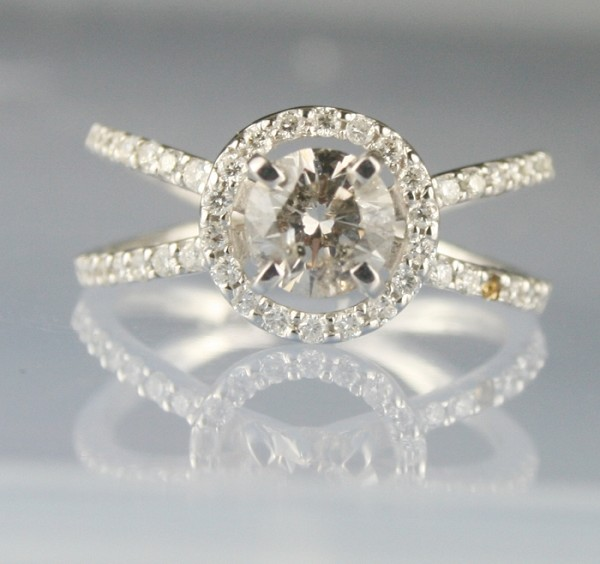 Solitaire Ring wz Accent 1.26 Ct Center 0.78 Ct. Diamond Solid Gold Natural Certified