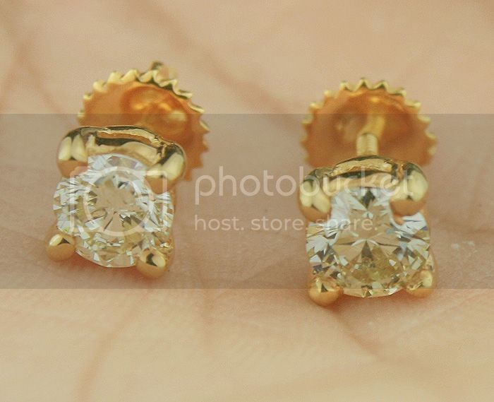 Diamond Solitaire Earrings 0.95Ct 0.47Ct X 2 Pcs Gold Wedding